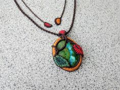 Micro Macrame Pendant with Leaves, Chrysocolla Gemstone,Heart Chakra, Throat Chakra, Saggitarius,Mother Earth,Macrame Stone wrap with leaves