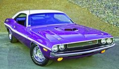Plum Crazy, 440 Six Pack RT  Challenger with shaker hood.
