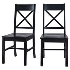 Solid Wood Dining Chairs - Black (Set of 2)