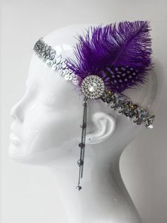 Purple Gatsby Flapper Headpiece,1920's Purple & Silver Feather Headband, costume headband, halloween costume, themed party, 1920's H169