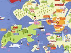 Childrens' Map of Hong Kong Mural © Tania Willis 2009 Map Design, Hong Kong, Infographic, Nursery, Fine Art, Gray, Orange, Illustration, Fun