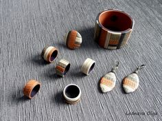 Bracelet, earrings and rings made of polymer clay.