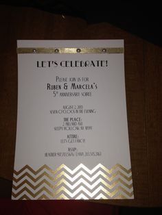 Invitations + black and gold + roaring 20s + anniversary party