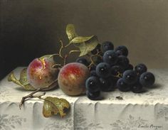 """Emilie Preyer """"Prunes and grapes on a damast tablecloth"""" (19th century) 