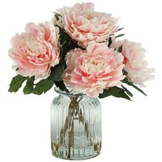 Peonies in Ridged Glass Vase