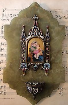 Rare antique French champleve enamel hand painted porcelain holy water font