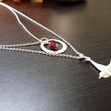 Custom Hand Stamped Jewelry -Bird Sterling Silver Necklace with Crystal - $18