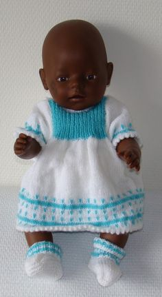 Baby Born Doll clothes- knitted dress and shoes Knitting Dolls Clothes, Crochet Doll Clothes, Knitted Dolls, Doll Clothes Patterns, Sewing Clothes, Baby Born Clothes, Bitty Baby Clothes, Baby Knitting, Crochet Baby