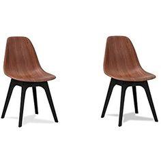 Ensemble de chaises à manger de 2 Sélection de Rétro Design de tulipes Chaise scandinave aux jambes noires (Finition en noyer)