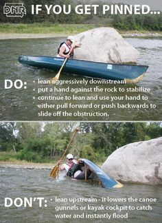 If you get pinned while canoeing or kayaking use these maneuvers to stay safe. Get tips like these in Iowa Outdoors magazine. If you get pinned while canoeing or kayaking use these maneuvers to stay safe. Get tips like these in Iowa Outdoors magazine. Canoe Trip, Canoe And Kayak, Kayak Fishing, Fishing Tips, Saltwater Fishing, Fishing Boats, Kayaking Tips, Whitewater Kayaking, Kayaking Quotes