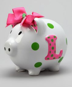 Take a look at this Pink 'L' Initial Piggy Bank by Mud Pie on #zulily today!