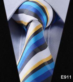 """Stripe Check Dot 3.4"""" 100%Silk Wedding Party Jacquard Woven Classic Men Tie Necktie #E9"""