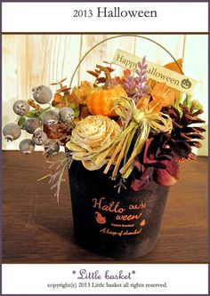 ~*Little basket*2013季節の雑貨シリーズ♪☆ハロウィンのバケツ型アレンジAドライ素材とアーティシャル素材です。ブラウンカラーのユーカリ、オレ...|ハンドメイド、手作り、手仕事品の通販・販売・購入ならCreema。