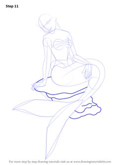 Step by Step How to Draw a Mermaid Sitting on a Rock : DrawingTutorials101.com