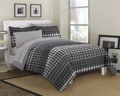 Take a new look at this classic print with the bold Loft Style Houndstooth Mini Bed in a Bag ! The face of the comforter and sham showcases a large houndstooth. Grey Comforter Sets, Bedding Sets, Masculine Bedding, Teen Bedding, Bed In A Bag, Twin Sheet Sets, Loft Style, Queen Beds, Luxury Bedding