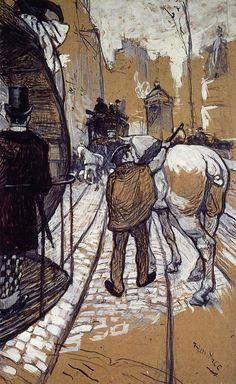 Henri de Toulouse Lautrec / cheval / rue / ville / trait / lumière / composition