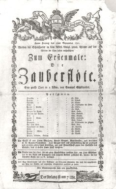 Playbill for the 1791 premiere