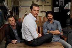 """""""Magic Mike's"""" Channing Tatum, left, Matthew McConaughey and Joe Manganiello agree that it takes effort to be sexy onstage -- especially when you're oiled."""