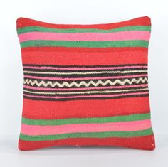 """Red and Green Striped Kilim Pillow Cover 16"""" (40 cm) Square Kilim Pillow Case #Turkish"""