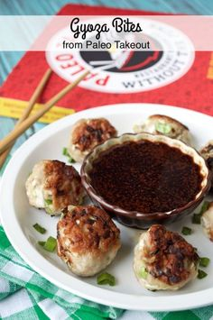 Gyoza Bites from Paleo Takeout are the perfect appetizer bite paired with spicy dipping sauce! Plus a giveaway! #paleo