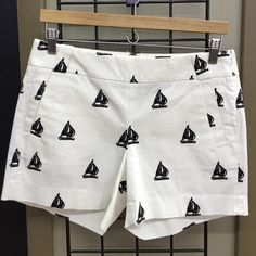 J. Crew Sailboat Shorts White and navy sailboat print stretch shorts. Like new condition! Slit pockets in back and front. J. Crew Shorts