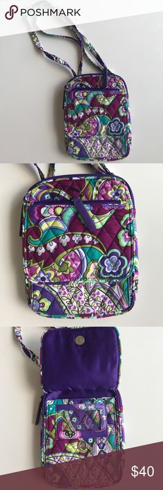 """NWT Vera Bradley Mini Hipster Crossbody 💜 New with tags, Vera Bradley Mini Hipster in Heather. Slip pocket on back. Six interior card slips, ID window and zip coin pocket. Magnetic snap and zip closures.  Dimensions 6"""" w x 7 ½"""" h x ¾"""" d with 56"""" adjustable strap Vera Bradley Bags Crossbody Bags"""