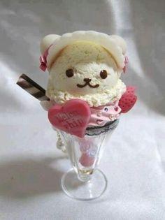 Cute kawaii ice cream bear parfait