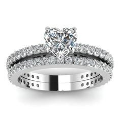 Heart Shaped Diamond Engagement Rings With White Diamonds In 14k White Gold | Sleek Sparkle Set | Fascinating Diamonds
