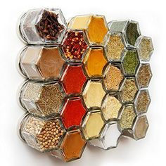Magnetic Spice Jar Spice Set Honeycomb Design by SpiceKitchenUK