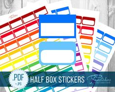 Printable Half Box Planner Stickers Printable planner Stickers HALF BOX stickers Half Box planner sticker Erin Condren Planner Stickers by FleurStickers on Etsy