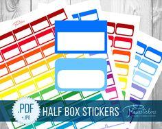 Printable Half Box Planner Stickers Printable planner Stickers HALF BOX stickers Half Box planner sticker Erin Condren Planner Stickers by FleurStickers on Etsy