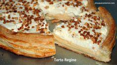 Exquisita Tarta Regina preparada con masa de hojaldre, crema pastelera y nata. Una explosión de sabor que ha conseguido que sea una de mis tartas favoritas