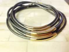 Leather Gold Noodle Beaded Wrap Bracelet Metallic Grey Silver  Boho Style Jewelry Great Christmas Gift for Her on Etsy, $18.50
