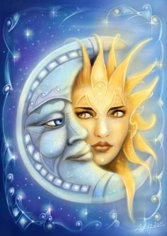 ♡ THE SUN, MOON & STARS ~ I love how they described the sun as a woman and the moon as the man. Sun Moon Stars, Sun And Stars, Sun Art, Moon Magic, Beautiful Moon, Moon Child, Painted Rocks, Fantasy Art, Cool Art