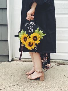 """Graduation 2018 sunflower grad cap: """"Adventure is out there"""""""