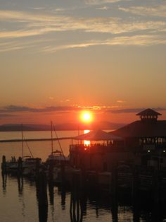 sunset on Lake Champlain in Burlington, Vermont