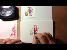 Watercoloring  with blender pens and ink pads.  Technique tutorial.  Stampin' Up - video in post.