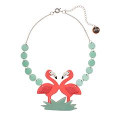 Limited edition, original Erstwilder Flamboyant Flamingo Fair Necklace in pink. Designed by Louisa Camille Melbourne. Buy now