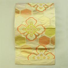Gold rokutsu fukuro obi / 格調高い装いに 金地 亀甲花菱文様 六通袋帯
