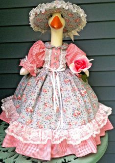 Goose outfit ~*~ COUNTRY ROSE ~*~ Goose Clothes by Linda | eBay Cement, Concrete, Duck Costumes, Goose Clothes, Country Rose, Clothes Patterns, Stuffed Animals, Lawn, Harajuku