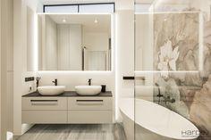 Realizacje - mieszkania pod klucz w stylu nowoczesnym, loftowym, industrialnym, skandynawskim – Warszawa - Monika Hardej Double Vanity, Bathroom Lighting, Mirror, Picasso, Furniture, Home Decor, Modern Bathrooms, Design Ideas, Facades