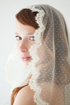 OMG I LOVE THIS VEIL, very italianish Wedding Veil Bridal Veil Lace Point d'Esprit by sibodesigns, $210.00