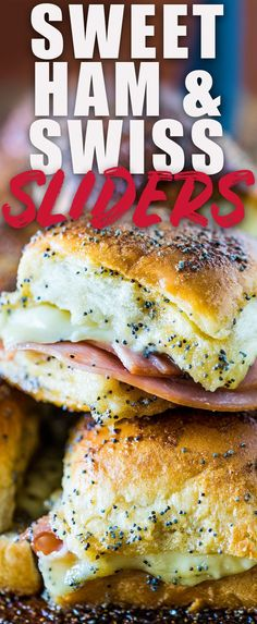 Need an easy recipe that feeds a croud? These Ham and Cheese Sliders bake up a little bit sweet with the addition of brown sugar and make even picky eaters happy.  #ham #swiss #sliders #sandwiches #baked #appetizer via @heatherlikesfood