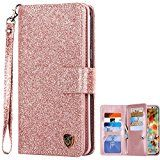 Galaxy S8 Case, Samsung Galaxy S8 Case, BENTOBEN Galaxy S8 Wallet Case Glitter Faux Leather Flip Credit Card Holder Wristlet Shockproof Protective Case for Samsung Galaxy S8 2017 (5.8 Inch), Rose Gold   Compatible with Samsung Galaxy S8 (5.8 Inch), Not Compatible with galaxy s8 plus or other...