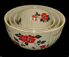 vintage HALL'S ceramic RED & BLACK POPPY floral pattern NESTING BOWLS set of 4 #Hall