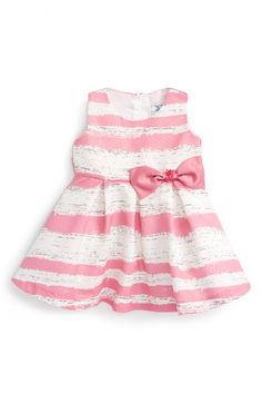 Free shipping and returns on Dorissa Stripe FIt & Flare Dress (Baby Girls) at Nordstrom.com. A subtle woven pattern adds a lustrous touch to a darling striped dress featuring a sequin-embellished bow at the waist.