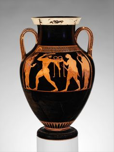 On the body, obverse, Herakles and Apollo vying for possession of the Delphic tripod, which was central to the oracle of Apollo. On the lip, obverse and reverse, Herakles and the Nemean Lion. Amphora, ca. 530 B.C.; Archaic; red-figure Signed by Andokides, as potter; Attributed to the Andokides Painter (red-figure decoration); Attributed to Psiax (black-figure decoration) Greek, Attic Terracotta; H. 22 5/8 in. (57.5 cm)