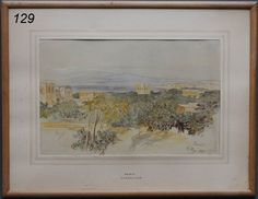 "EDWARD LEAR Beirut pencil with watercolor 8 11/2"" x 13"" , sold $21,000 www.fairfieldauction.com"