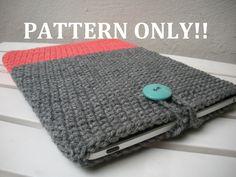 Crochet ipad case - grey and pink