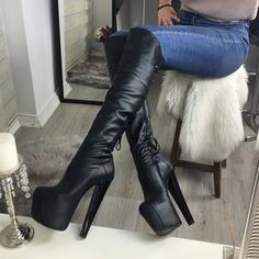 Black Stylish Over The Knee Boots - Black Stylish Over The Knee Boots – Tajna Club Source by schalenwild - Thigh High Boots, High Heel Boots, Heeled Boots, Shoe Boots, High Heels, Stiletto Heels, Shoes, Over The Knee Boot Outfit, Casual Skirt Outfits